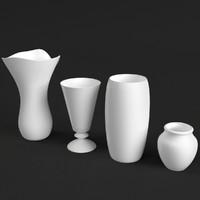 3d model set 4 vases uv