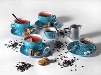 Tea Set with Chocolate Macarons