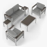 Aluminium outdor furniture set, armchair, loveseat, coffee table, side table