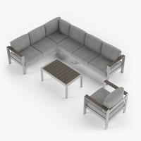 Aluminium outdor furniture set, armchair, sectional corner sofa, coffee table.