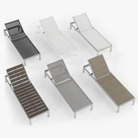 Aluminium outdor lounger chaise - wood, rattan, fabric.