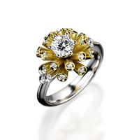 Engagement ring with round gemstone 007
