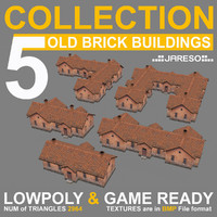 Lowpoly collection of 5 industrial brick buildings - collection_5_old_brick_buildings_002_abcde.rar