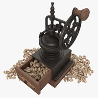 Coffee Mill With Beans (White)