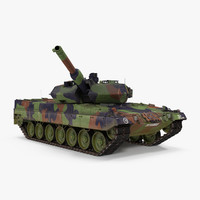 German Battle Tank Leopard 2A5 Rigged