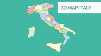 3d map - Italy with all regions