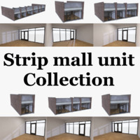 Strip mall store unit collection with interior full