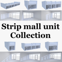 Strip mall store unit collection with interior