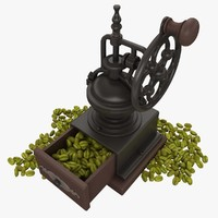 Coffee Mill With Beans (Green)