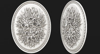 Oval panel with flowers