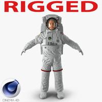 Astronaut Nasa Extravehicular Mobility Unit Rigged for Cinema 4D