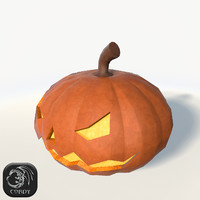 Halloween pumpkin low poly