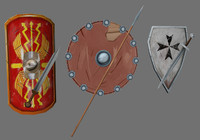 3 medival sets (shield + weapon)
