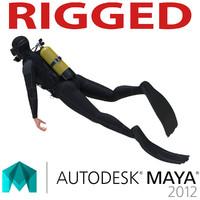 Diver Rigged for Maya