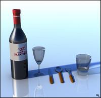 free obj model cutlery wine