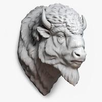 3d american bison buffalo head