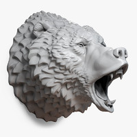 roaring bear head grizzly 3d max