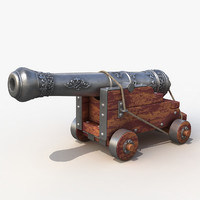 3d old ship cannon model