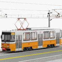 Tram Budapest City Tatra T5C5 Overhead Pole and Track