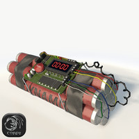 Bomb with timer low poly