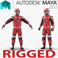 Motorcycle Rider 2 Rigged for Maya