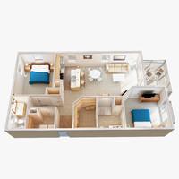 3D Floor Plan Scene 1