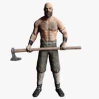 3d viking man rigged model