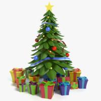cartoon christmas tree 3d max