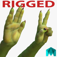 Green Orc Hands Rigged for Maya