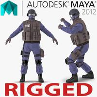 SWAT Policeman Rigged for Maya