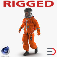 US Astronaut Wearing Advanced Crew Escape Suit ACES Rigged for Cinema 4D