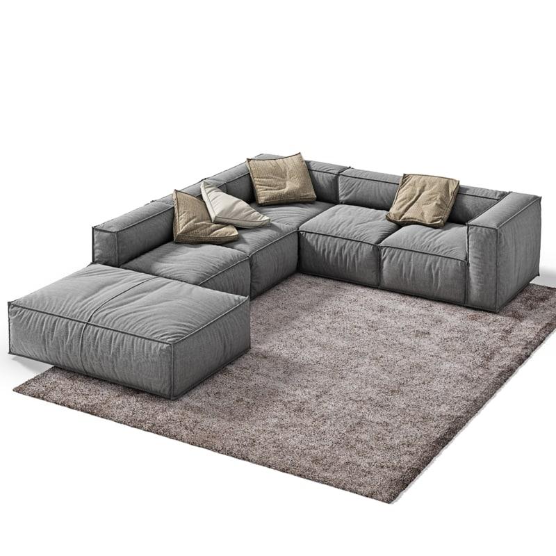 3d 3ds peanut sofa vray for Sofa bed 3d model