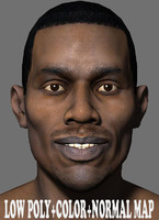 Low Poly Head Male black african 4