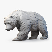 3d model bear fur walking sculpture