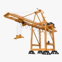 Container Handling Gantry Crane Orange Rigged