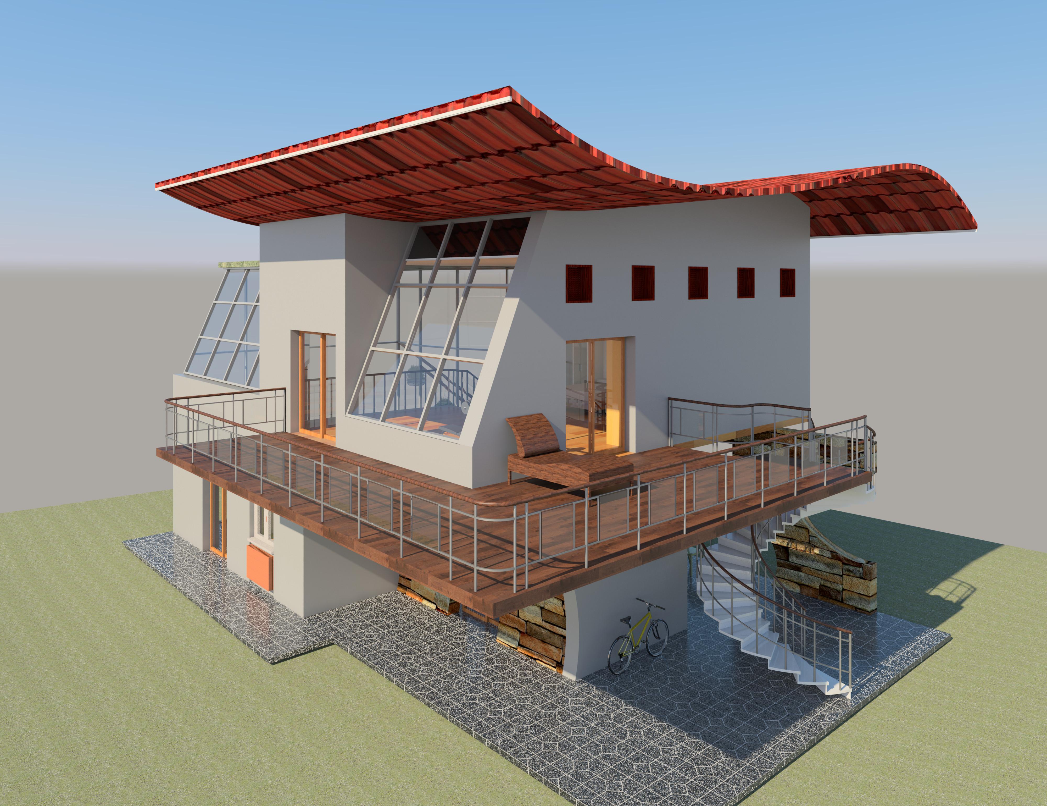 dwg villa house design revit. Black Bedroom Furniture Sets. Home Design Ideas