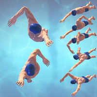 3d swimming man rigged classic