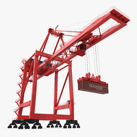 Port Container Crane Rigged Red with Container