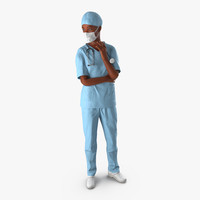 African American Female Surgeon Rigged