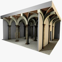 Vaulting 3_2 - Romanic, 500cm spaced, with thin arches and thick curbs