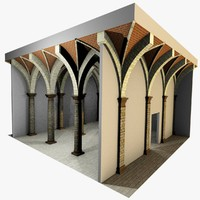 Vaulting 4_2 - Renaissance, 500cm spaced, with thin arches and thick curbs