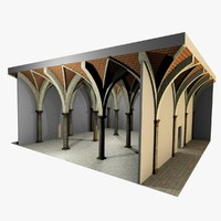 Vaulting 4_4 - Renaissance, 750cm spaced, with thin arches and thick curbs