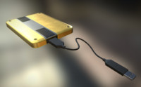 External HDD With USB Cable Rigged Gold Version