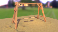 3ds max wooden swing country