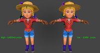 Farmer woman-high and low Poly