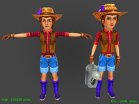 Farmer woman 2-high and low Poly