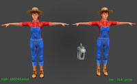 Farmer woman 3-high and low Poly