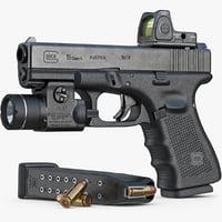 Gun Glock 19 Gen 4, Scope, Flashlight