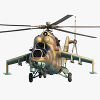 Russian Helicopter Mil Mi-24 Hind Rigged