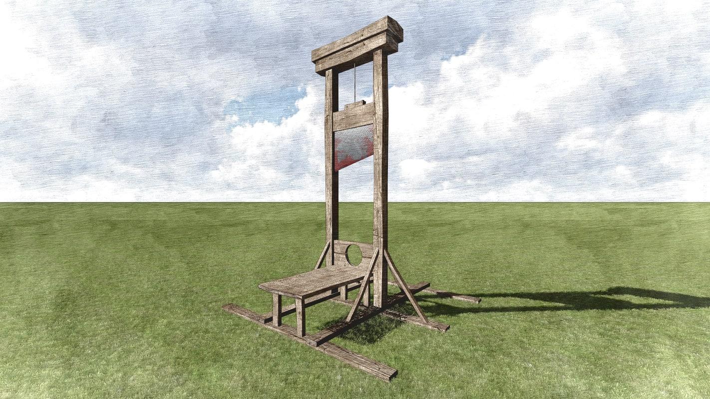 3d obj guillotine wooden structure. Black Bedroom Furniture Sets. Home Design Ideas